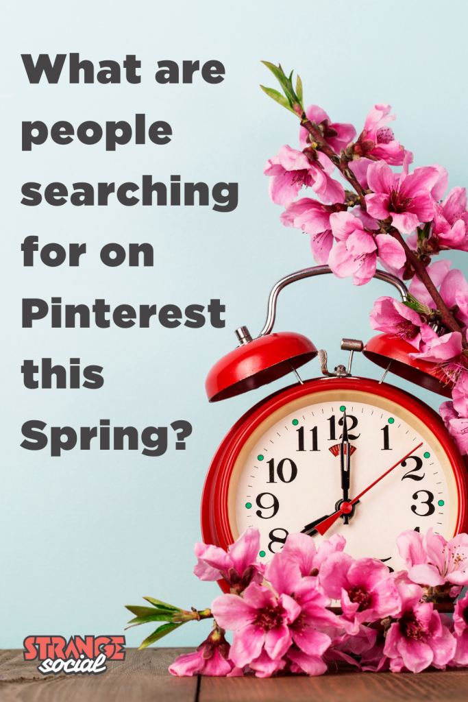 Image of a red clock with blossom: Title reads: What are people searching for on Pinterest this Spring?