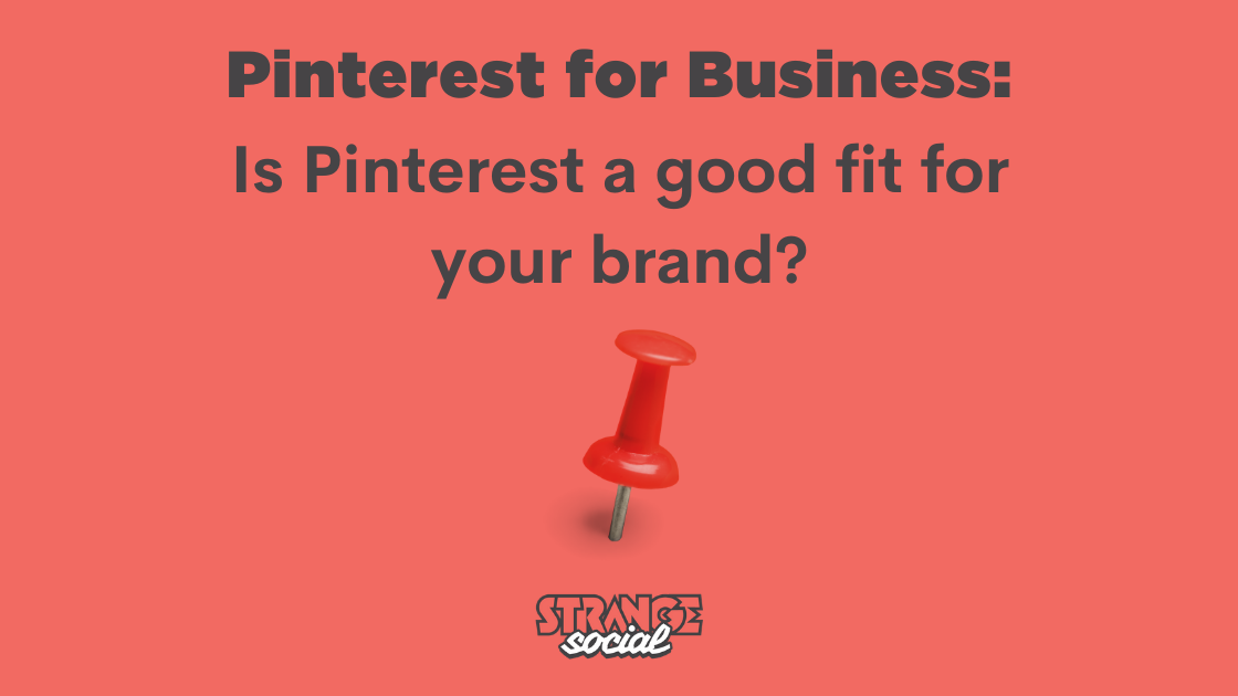 Red background with a red pin and the title: Pinterest for business: Is Pinterest a good fit for your brand?