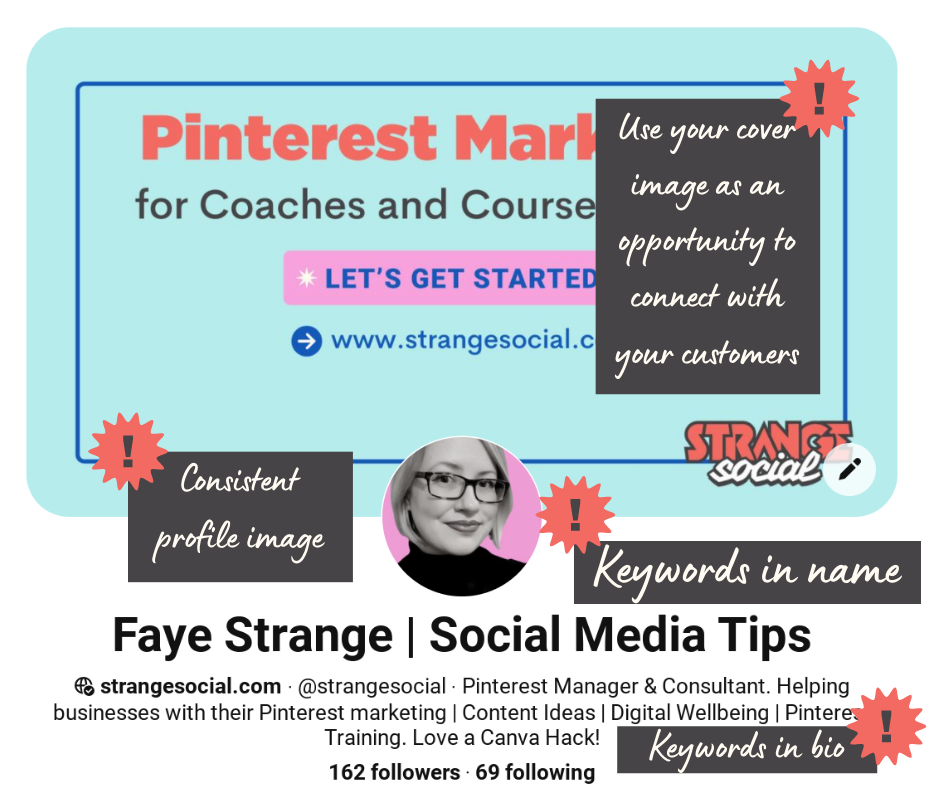 An image of the Strange Social Pinterest bio with notes on how to optimise it