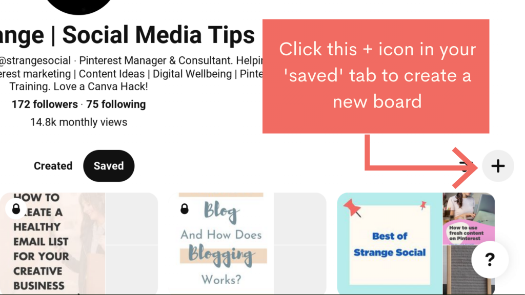 How to create a Pinterest board - click the + icon on your PInterest profile