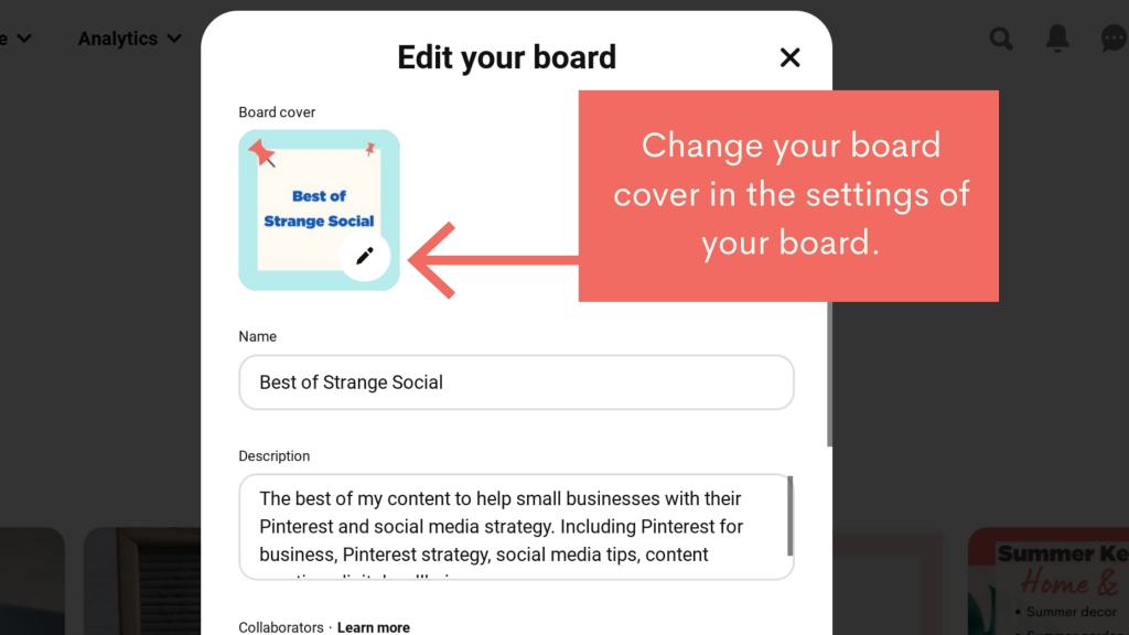 Photo showing Pinterest board settings. with an arrow showing where to change the board cover